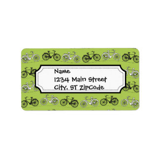 Fun Vintage Green Bicycles Pattern Print Label