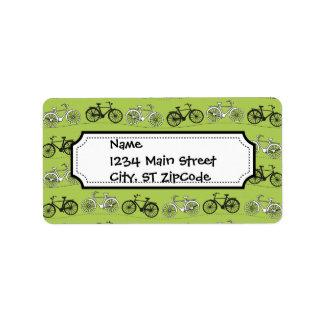 Fun Vintage Green Bicycles Pattern Print Address Label