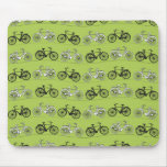 Fun Vintage Green Bicycles Pattern Print Mouse Pad