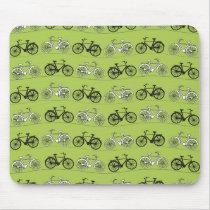 Fun Vintage Green Bicycles Pattern Print Mouse Pad