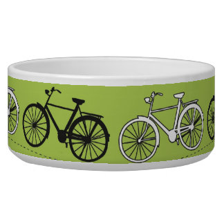 Fun Vintage Green Bicycles Pattern Print Pet Water Bowl
