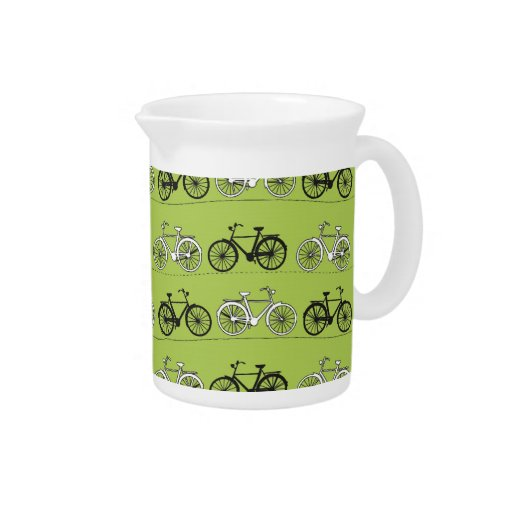 Fun Vintage Green Bicycles Pattern Print Drink Pitchers