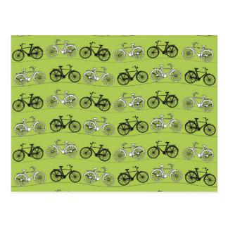 Fun Vintage Green Bicycles Pattern Print Postcard