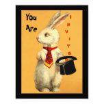 "Fun Vintage Magic Show Rabbit & Top Hat Invitation 4.25"" X 5.5"" Invitation Card"