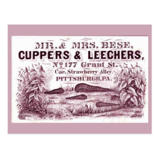 FUN Vintage MEDICAL Leeches Ad CUPPERS LEECHERS Post Card