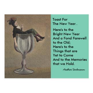 Fun vintage New Year's Toast Wine Gal Postcards