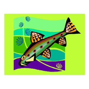 Beach Themed Fun Vintage Retro Tropical Fish Postcard