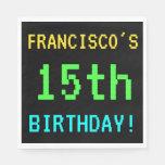 [ Thumbnail: Fun Vintage/Retro Video Game Look 15th Birthday Napkin ]