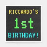 [ Thumbnail: Fun Vintage/Retro Video Game Look 1st Birthday Napkin ]