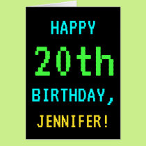 Fun Vintage/Retro Video Game Look 20th Birthday Card