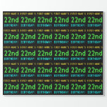 [ Thumbnail: Fun Vintage/Retro Video Game Look 22nd Birthday Wrapping Paper ]