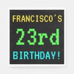 [ Thumbnail: Fun Vintage/Retro Video Game Look 23rd Birthday Napkin ]
