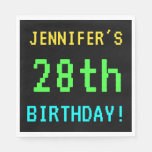 [ Thumbnail: Fun Vintage/Retro Video Game Look 28th Birthday Napkin ]