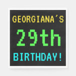 [ Thumbnail: Fun Vintage/Retro Video Game Look 29th Birthday Napkin ]
