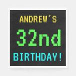 [ Thumbnail: Fun Vintage/Retro Video Game Look 32nd Birthday Napkin ]