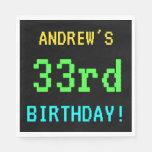 [ Thumbnail: Fun Vintage/Retro Video Game Look 33rd Birthday Napkin ]