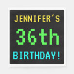 [ Thumbnail: Fun Vintage/Retro Video Game Look 36th Birthday Napkin ]