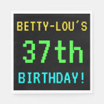 [ Thumbnail: Fun Vintage/Retro Video Game Look 37th Birthday Napkin ]