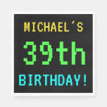 [ Thumbnail: Fun Vintage/Retro Video Game Look 39th Birthday Napkin ]