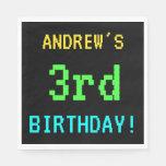 [ Thumbnail: Fun Vintage/Retro Video Game Look 3rd Birthday Paper Napkin ]