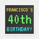 [ Thumbnail: Fun Vintage/Retro Video Game Look 40th Birthday Paper Napkin ]