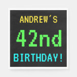 [ Thumbnail: Fun Vintage/Retro Video Game Look 42nd Birthday Napkin ]