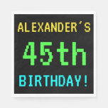 [ Thumbnail: Fun Vintage/Retro Video Game Look 45th Birthday Napkin ]