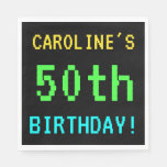 [ Thumbnail: Fun Vintage/Retro Video Game Look 50th Birthday Paper Napkin ]