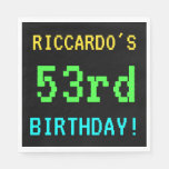 [ Thumbnail: Fun Vintage/Retro Video Game Look 53rd Birthday Napkin ]