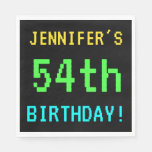 [ Thumbnail: Fun Vintage/Retro Video Game Look 54th Birthday Napkin ]