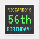 [ Thumbnail: Fun Vintage/Retro Video Game Look 56th Birthday Napkin ]