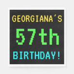 [ Thumbnail: Fun Vintage/Retro Video Game Look 57th Birthday Napkin ]