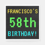[ Thumbnail: Fun Vintage/Retro Video Game Look 58th Birthday Napkin ]