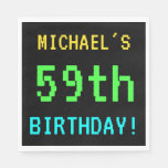 [ Thumbnail: Fun Vintage/Retro Video Game Look 59th Birthday Napkin ]