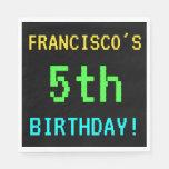 [ Thumbnail: Fun Vintage/Retro Video Game Look 5th Birthday Napkin ]