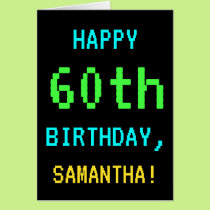 Fun Vintage/Retro Video Game Look 60th Birthday Card