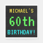 [ Thumbnail: Fun Vintage/Retro Video Game Look 60th Birthday Paper Napkin ]