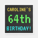 [ Thumbnail: Fun Vintage/Retro Video Game Look 64th Birthday Napkin ]