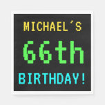 [ Thumbnail: Fun Vintage/Retro Video Game Look 66th Birthday Napkin ]