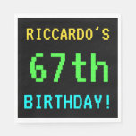[ Thumbnail: Fun Vintage/Retro Video Game Look 67th Birthday Napkin ]