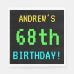 [ Thumbnail: Fun Vintage/Retro Video Game Look 68th Birthday Paper Napkin ]
