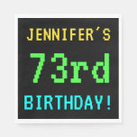 [ Thumbnail: Fun Vintage/Retro Video Game Look 73rd Birthday Paper Napkin ]