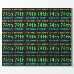 [ Thumbnail: Fun Vintage/Retro Video Game Look 74th Birthday Wrapping Paper ]