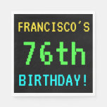 [ Thumbnail: Fun Vintage/Retro Video Game Look 76th Birthday Paper Napkin ]