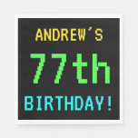 [ Thumbnail: Fun Vintage/Retro Video Game Look 77th Birthday Paper Napkin ]