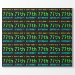 [ Thumbnail: Fun Vintage/Retro Video Game Look 77th Birthday Wrapping Paper ]