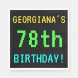 [ Thumbnail: Fun Vintage/Retro Video Game Look 78th Birthday Paper Napkin ]