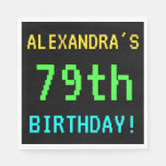[ Thumbnail: Fun Vintage/Retro Video Game Look 79th Birthday Napkin ]
