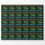 [ Thumbnail: Fun Vintage/Retro Video Game Look 7th Birthday Wrapping Paper ]