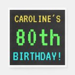 [ Thumbnail: Fun Vintage/Retro Video Game Look 80th Birthday Napkin ]